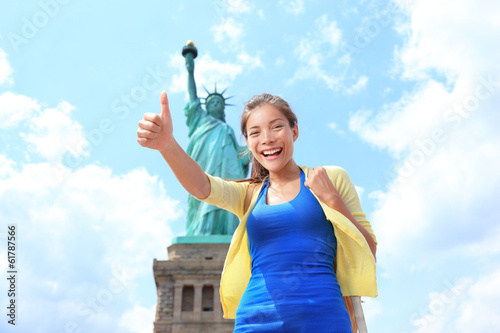 New York City Statue of Liberty Tourist woman