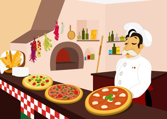 Chef and three delicious pizzas in the cozy pizzeria