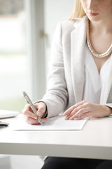 Businesswoman fill the form