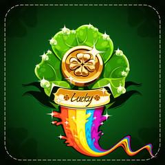 Coasters lucky clover on rainbow