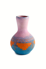 Glinenny vase of handwork with color patterns