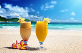 fresh fruit juices on a tropical beach