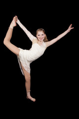 young girl dance hold leg up hand out