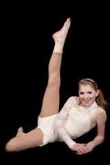 young girl dance lay leg up
