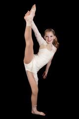 young girl dance leg up