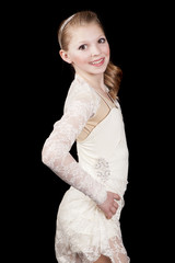 young girl dance side look