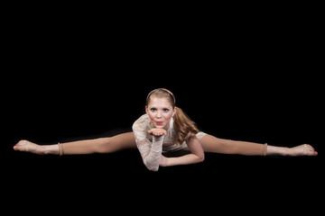 young girl dance splits blow kiss