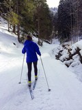 Girl cross-country skiing