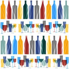 bottles and glasses