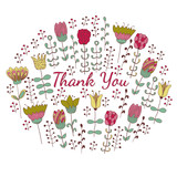 Thank you card with doodle flowers