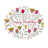 Happy birthday card with doodle flowers