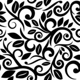 Fototapety black and white or transparent seamless floral background