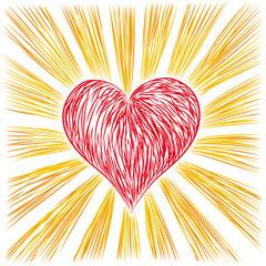 cuore con raggi