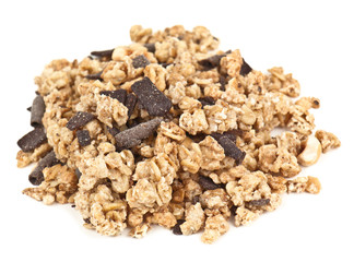 heap of muesli on white