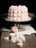 Scalloped pale pink cake on glass stand next to rose and marshma