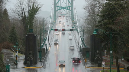 Lions Gate Bridge Rain, Commuter Traffic