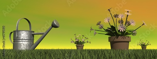 Watering can in the garden - 3D render