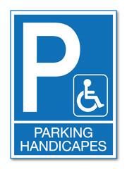 Panneau parking réservé handicapés.