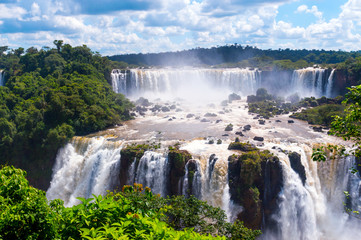 Panorama view of Iguassu Falls, waterfall in Brazil