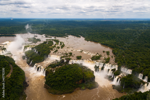 Iguazu Falls or Iguassu Falls in Brazil. View from airplane