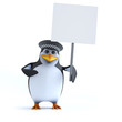 3d Officer penguin has a placard