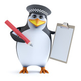 3d Officer penguin has a clipboard
