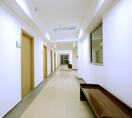 empty corridor modern office building