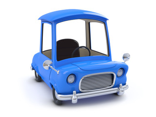 3d Blue cartoon car top view