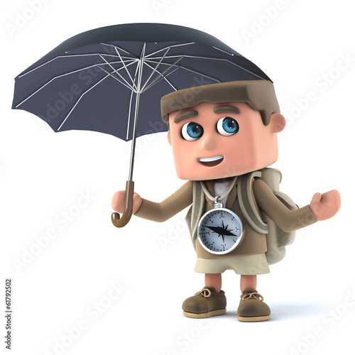 3d Hiker with umbrella