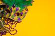 Leinwanddruck Bild - Colorful group of Mardi Gras or venetian mask on yellow