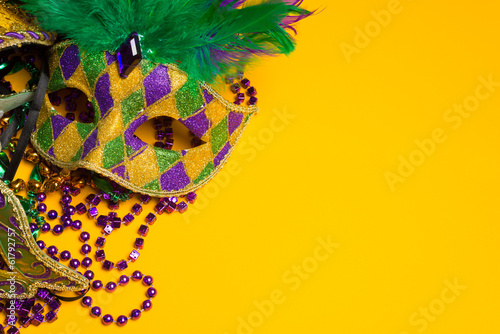 Poster Carnaval Colorful group of Mardi Gras or venetian mask on yellow