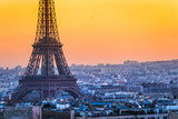 Eiffel tower at sunrise, Paris.