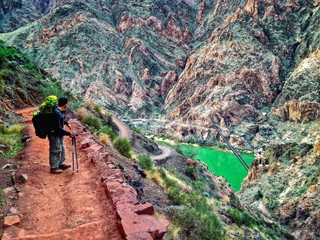 Hiker on South Kaibab Trail, South Rim, Grand Canyon, Arizona