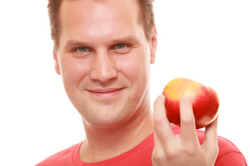 Happy man holding apple. Diet health care healthy nutrition.