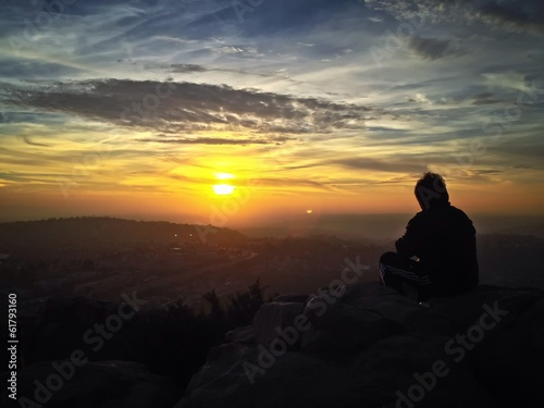 Watching a Sunset, Cowles Mountain, San Diego, California, USA