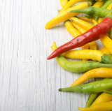 Hot Peppers Wooden Background Copy Space