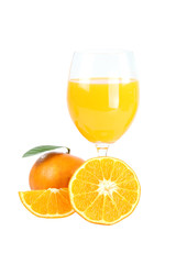 Mandarin oranges and glass isolated.