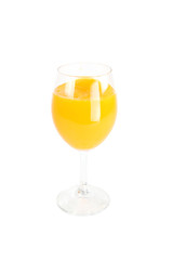 Glass with oranges juice isolated.