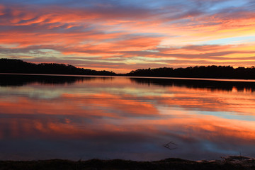 Sunrise Reflections at Narrabeen lakes Australia