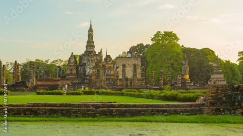 Ruins of ancient Buddhist temples in the evening. Thailand, Sukh