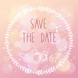 Save the date elegant wedding card with floral elements