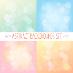 Abstract backgrounds with bokeh set
