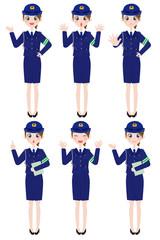 女性の表情 全身 警官