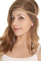 woman headband close side turn