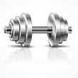 Metallic dumbbell, fitness and healthy lifestyle concept on