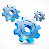 Blue three gears isolated on white, mechanical vector