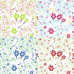 set of floral patterns with circles and spirals
