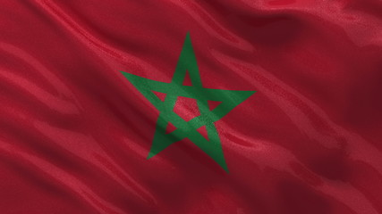 Flag of Morocco waving in the wind - seamless loop