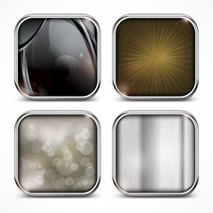 Set of metal square four icons on white, vector illustration