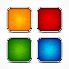 Colored glassy square buttons on white, vector illustration